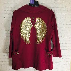 🌻 Oversized Sweatshirt with Gold Wings 🌿